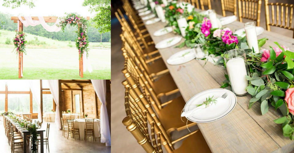Photos of wedding tables and archway